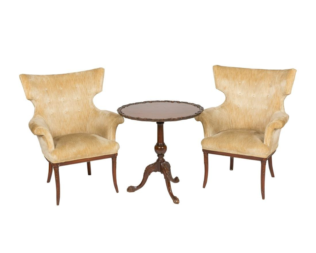 Pair Mahogany Fireside Chairs and Tilt Table