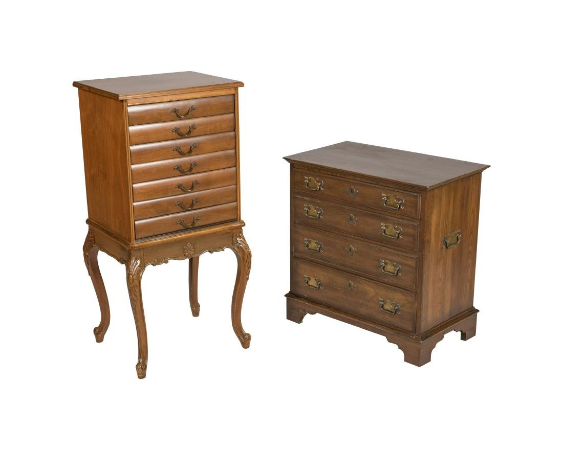 Cherry Silver Chest and Sheet Music Cabinet