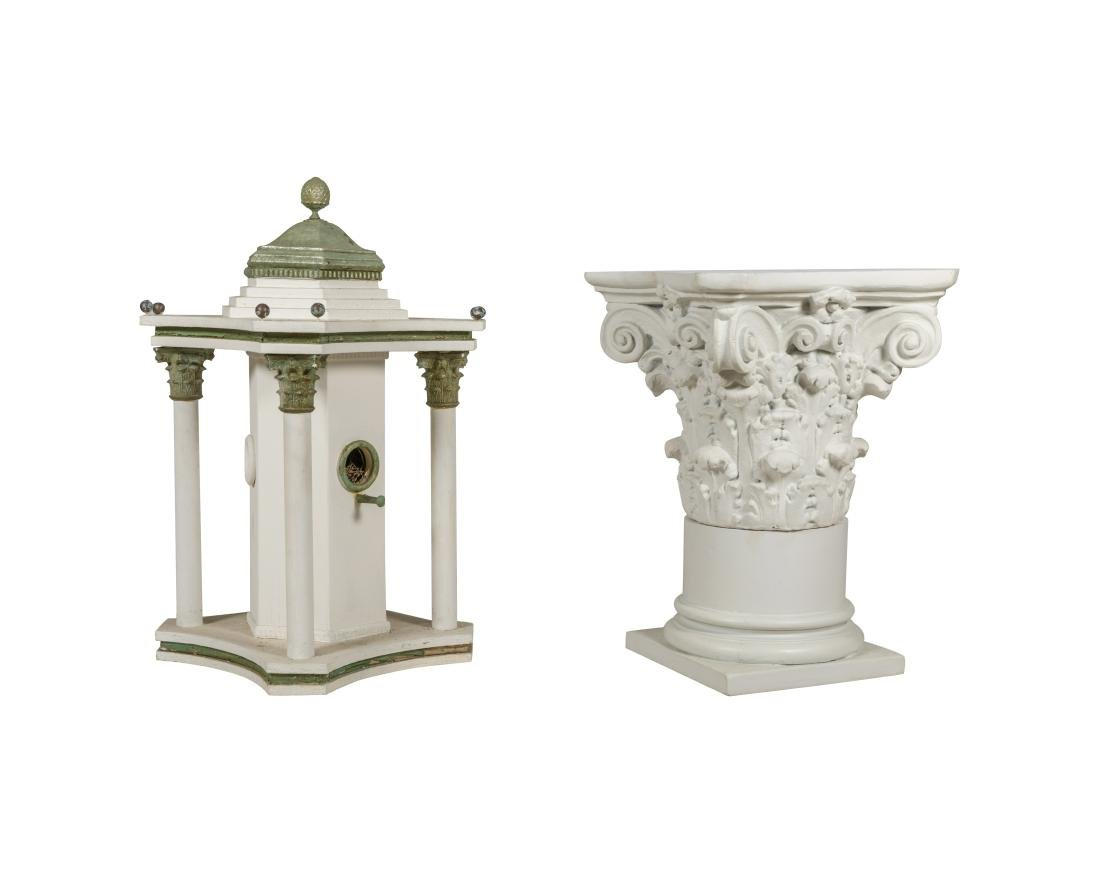 Corinthian Style Two Part Pedestal and Birdhouse