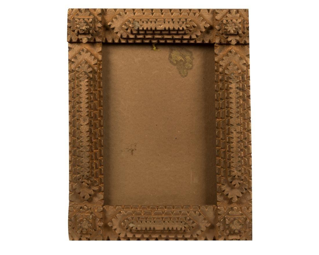 Tramp Art Carved Wood Frame