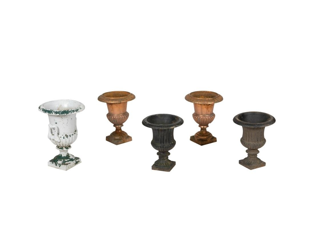 Five Petite Iron Urns