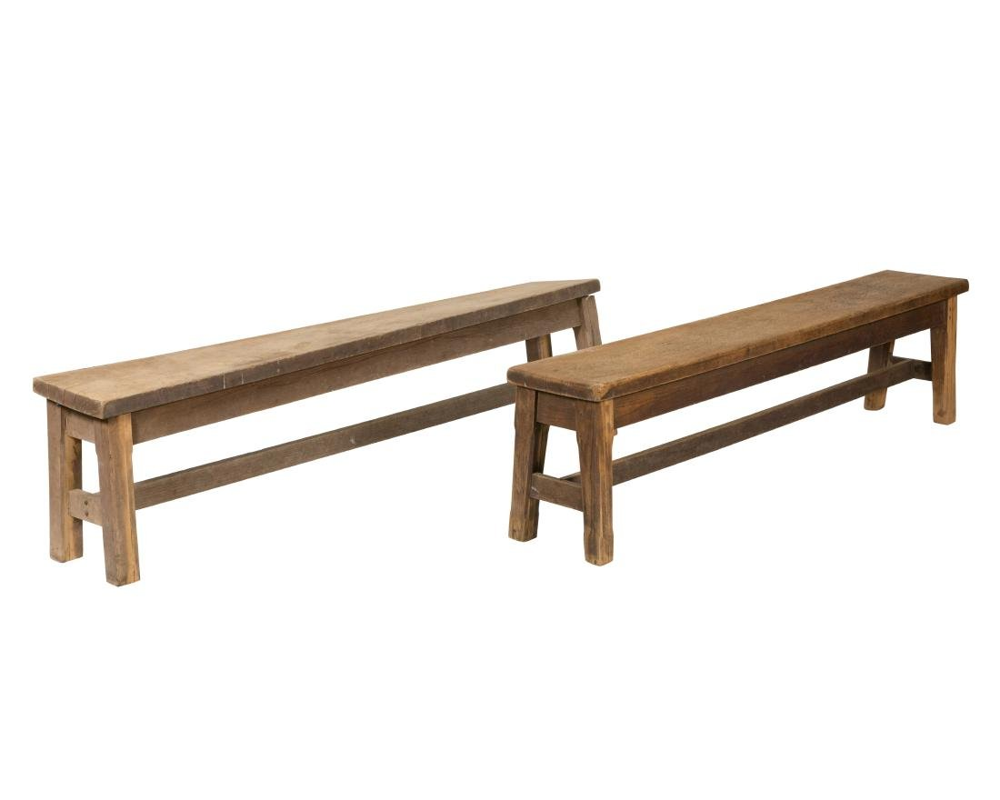 Primitive Oak Benches - Pair