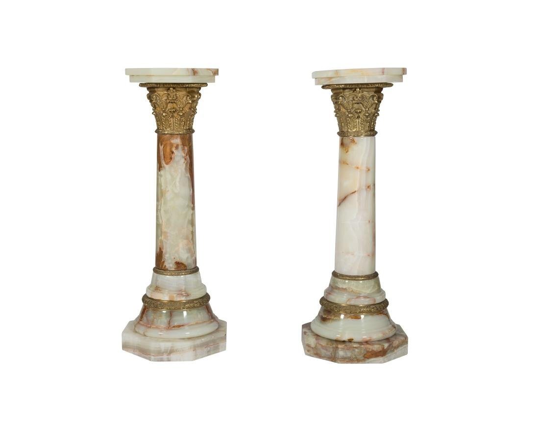 French Style Pair Onyx Pedestals