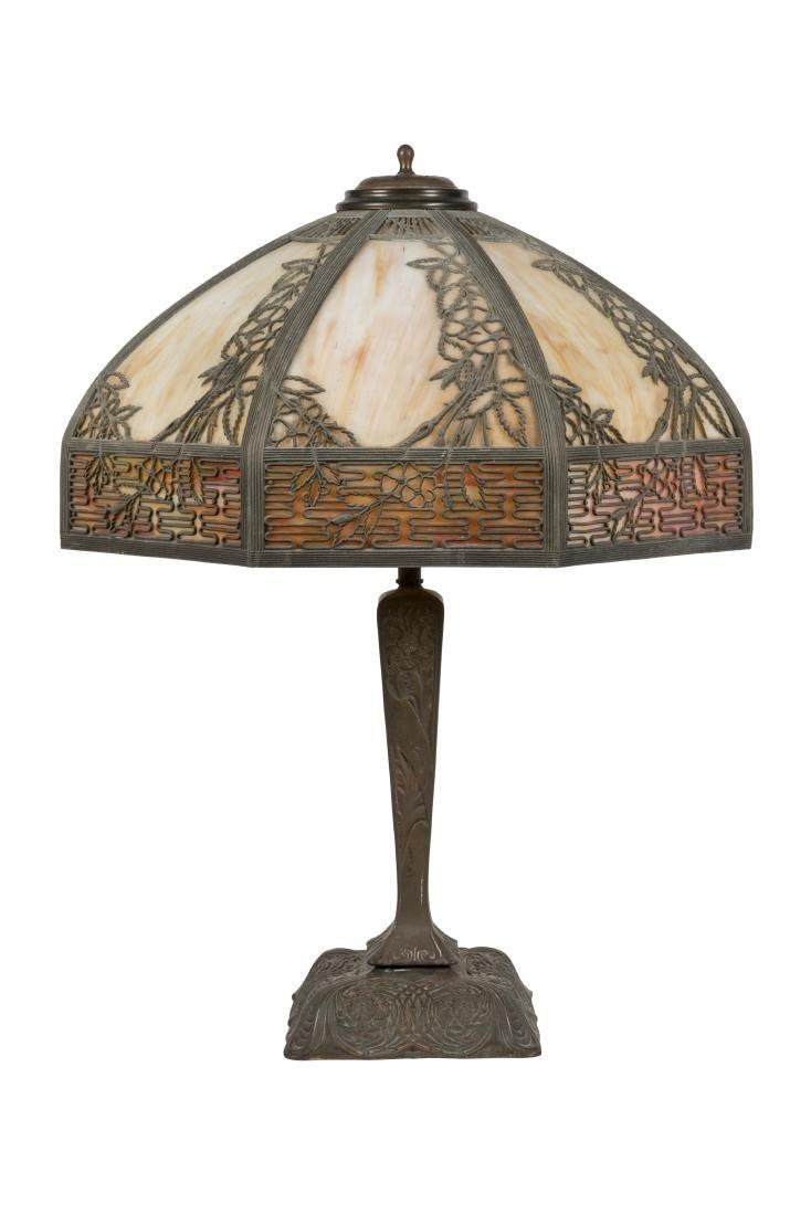 Metal Overlay Slag Glass Lamp