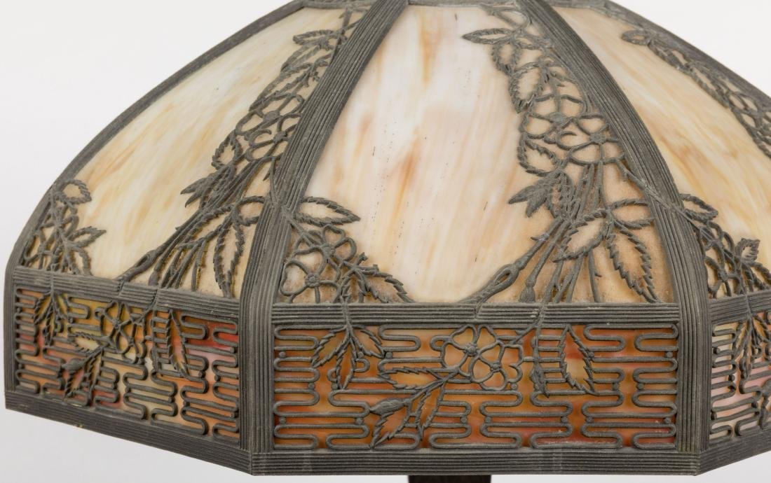 Metal Overlay Slag Glass Lamp - 2