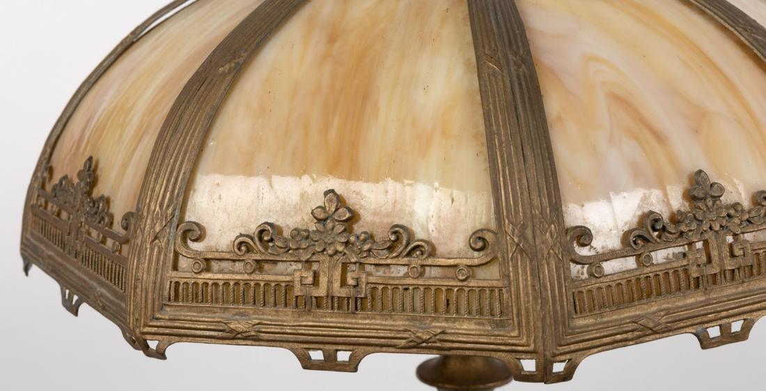 Metal Overlay Slag Glass Table Lamp - 2