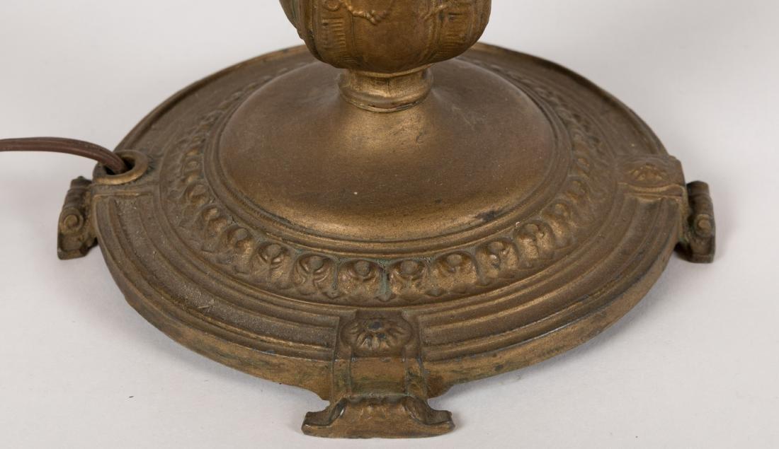 Metal Overlay Slag Glass Table Lamp - 5