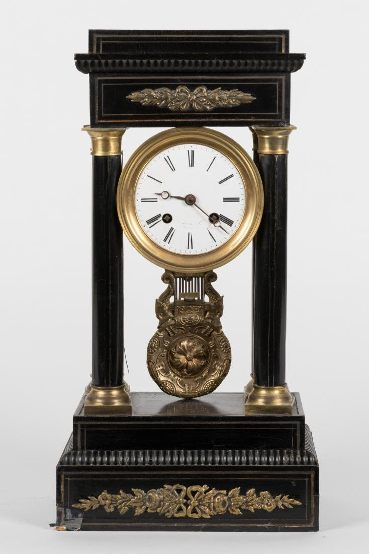 French Empire Bronze Mounted Mantle Clock