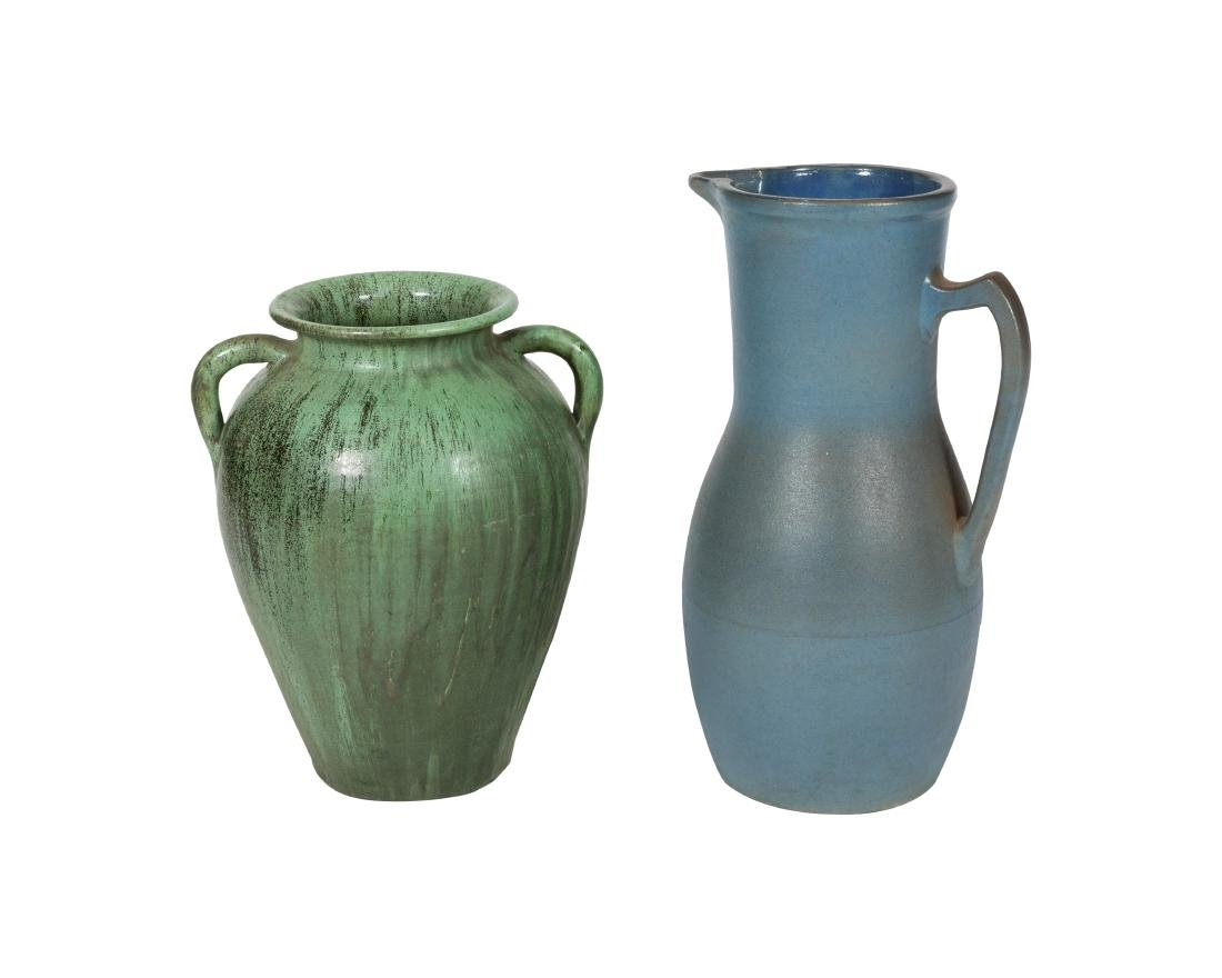 Large Art Pottery Urn and Pitcher