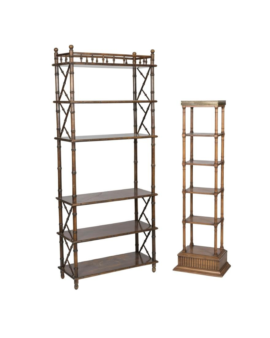 Two Faux Bamboo Etageres