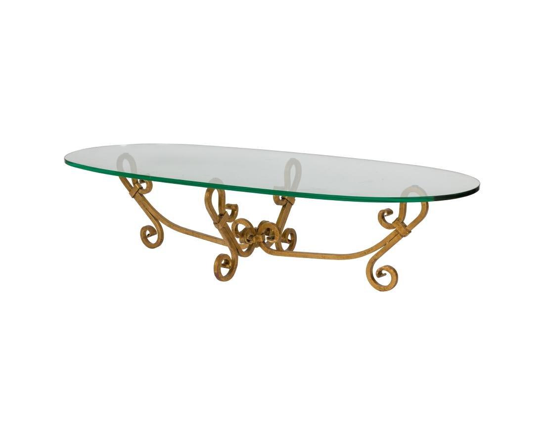 Gilt Iron Glass Top Coffee Table