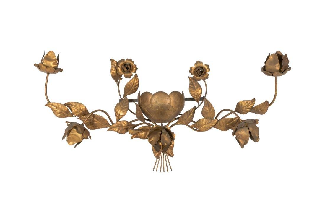 Gilt Metal Floral Sconce