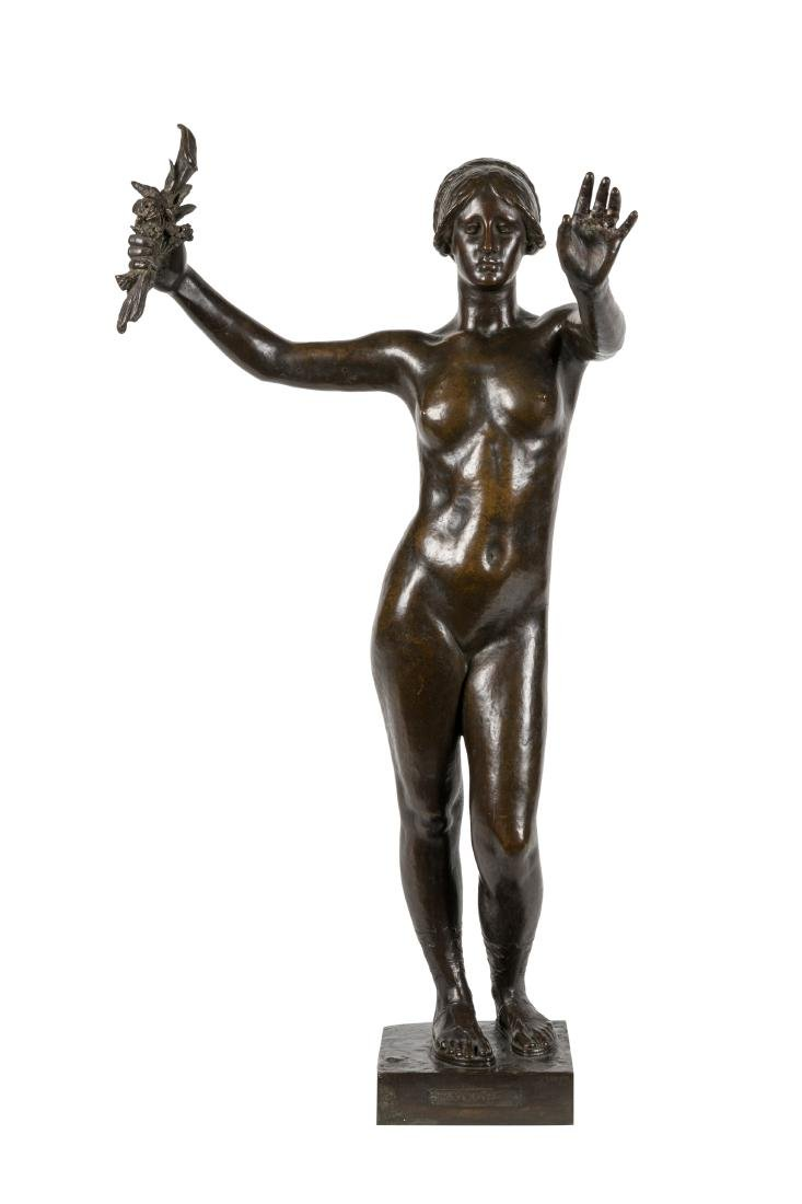 Bronze Nude Woman Holding Flowers - Signed