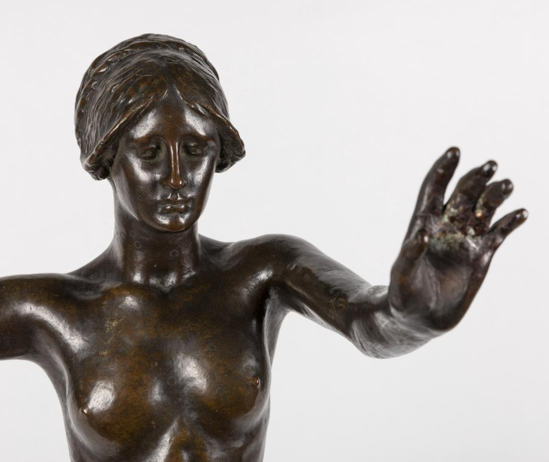 Bronze Nude Woman Holding Flowers - Signed - 2