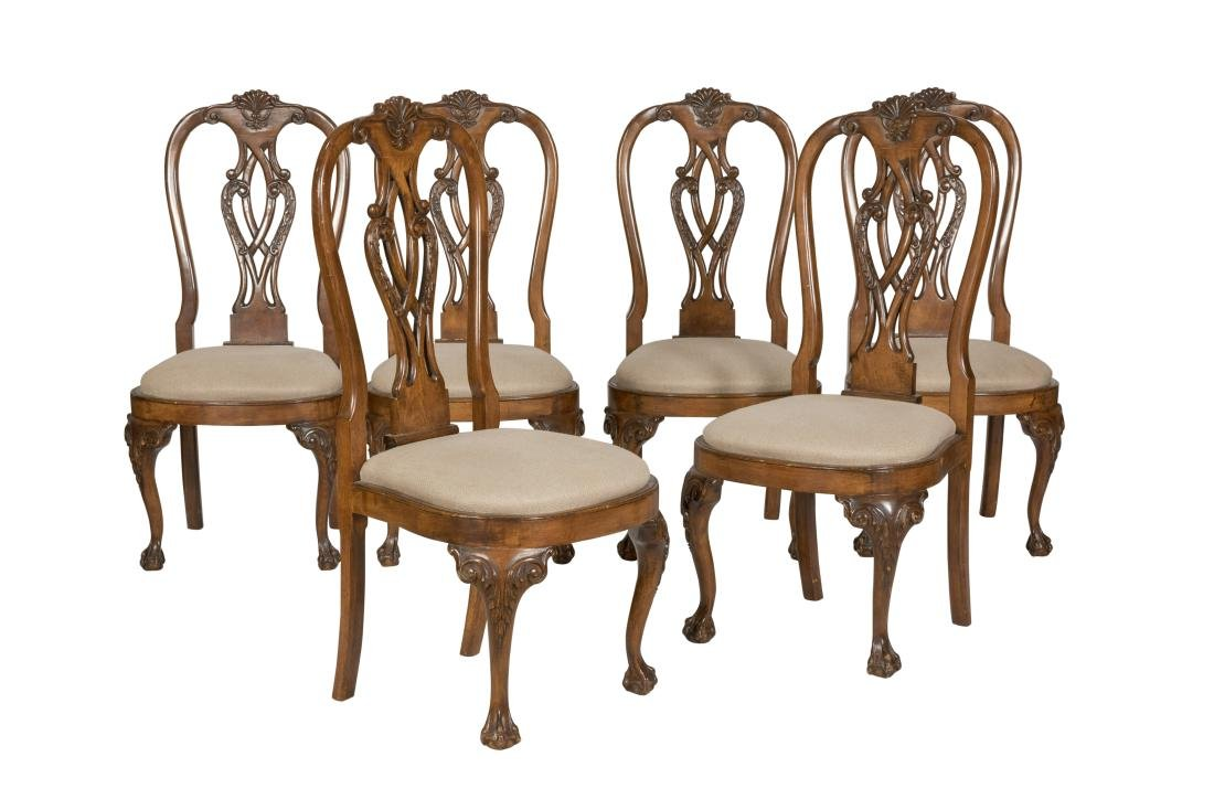 Chippendale Style Walnut Dining Chairs - Six