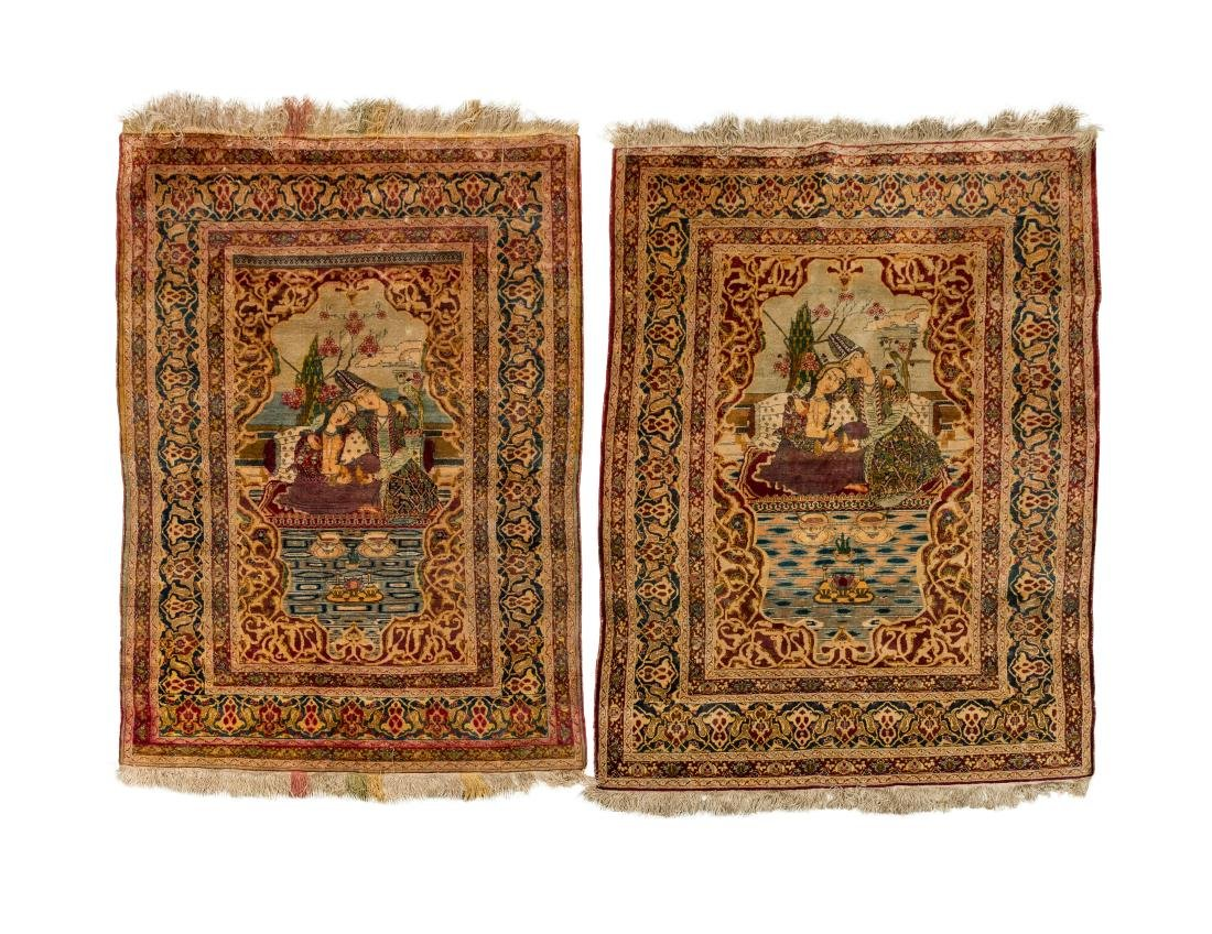 Persian Scenic Wall Hanging Rugs - Pair