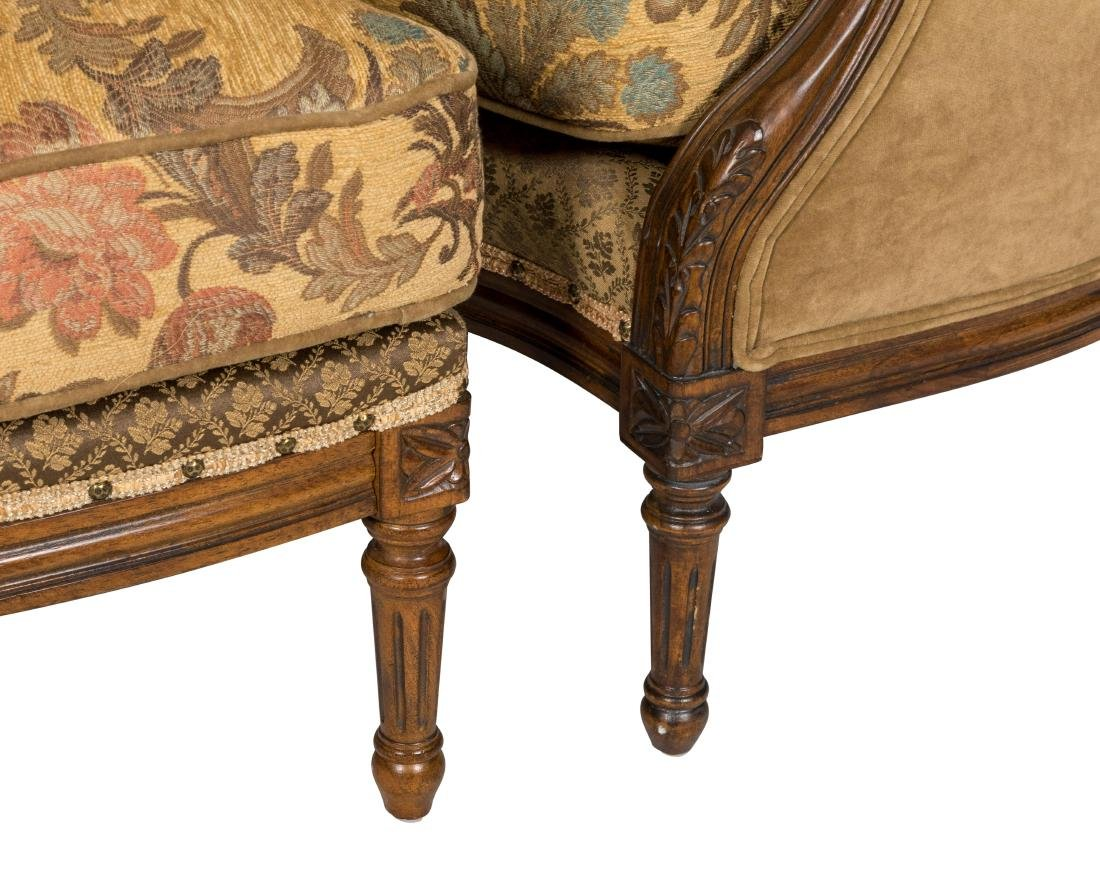 Carved French Style Loveseat and Ottoman - 2