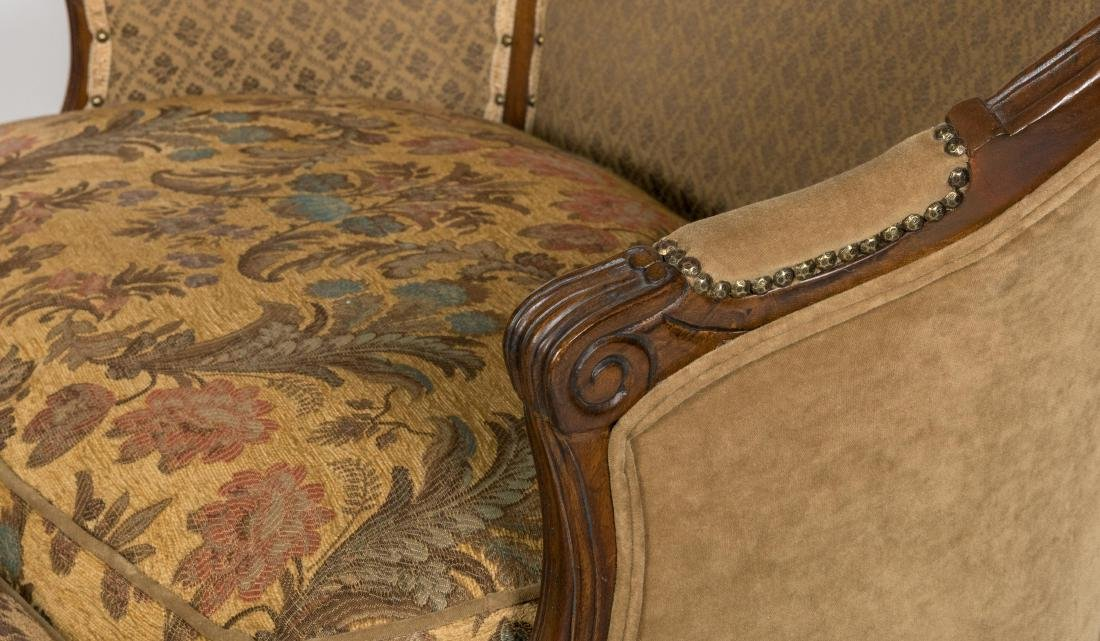 Carved French Style Loveseat and Ottoman - 3