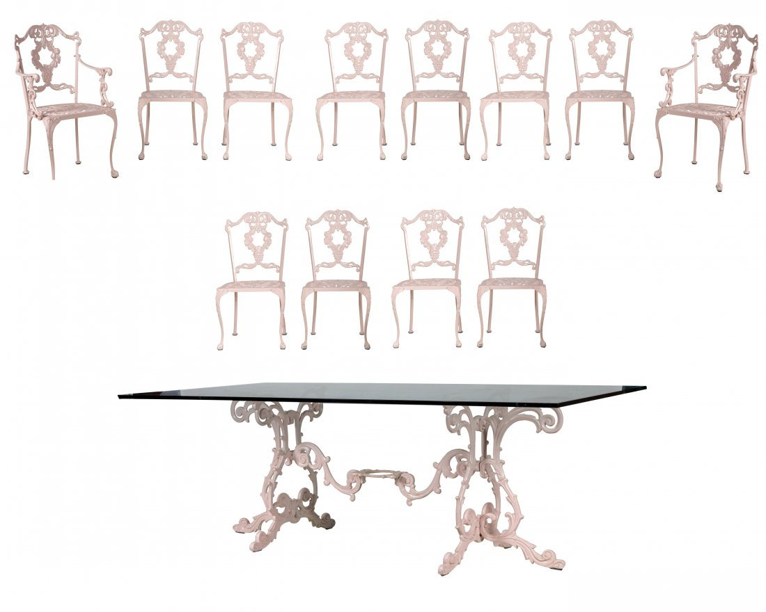 Aluminum Table and 12 Chairs