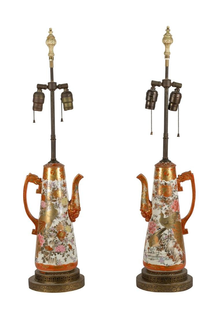 Kutani Teapot Lamps - Pair