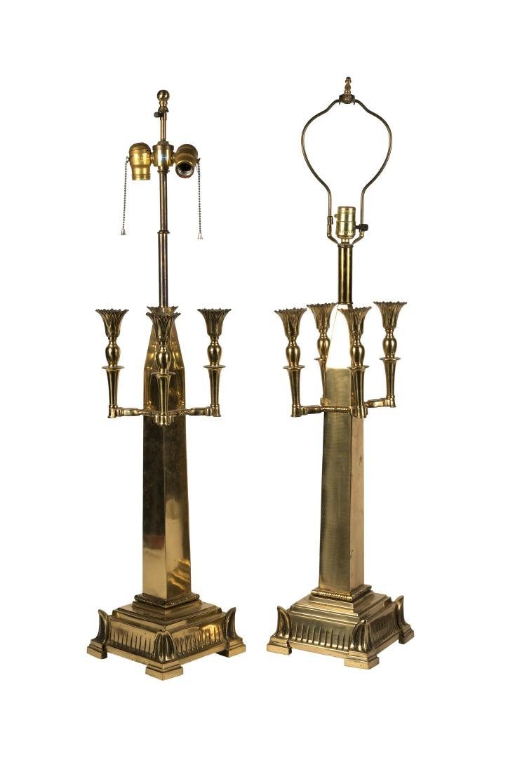 Gothic Style Brass Candelabra Lamps - Pair