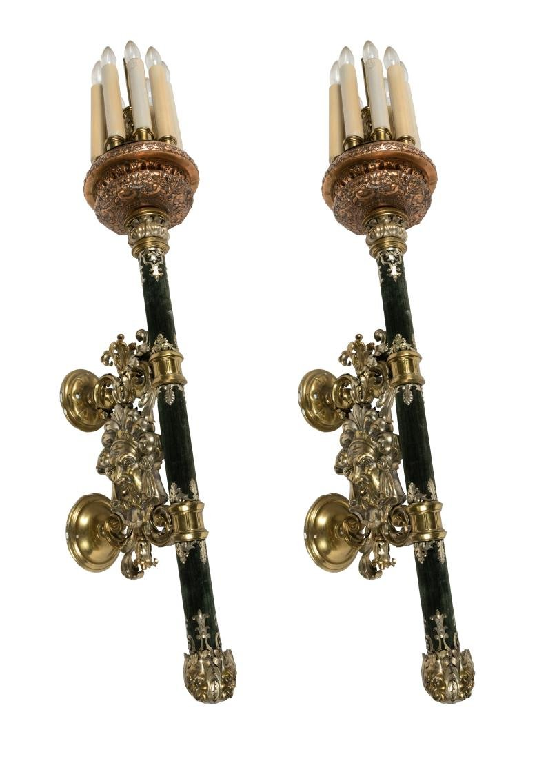 Baroque Style Brass and Copper Touchier Sconces