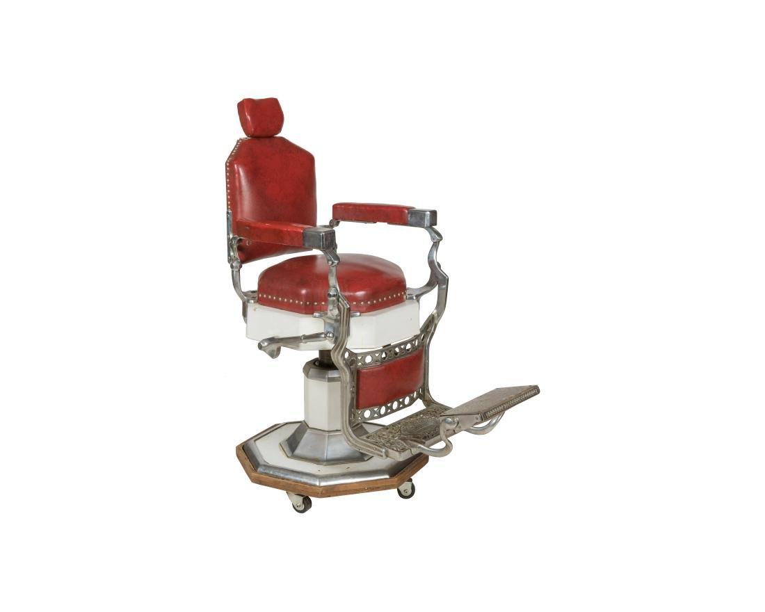 Koken Chrome and Vinyl Barber Chair