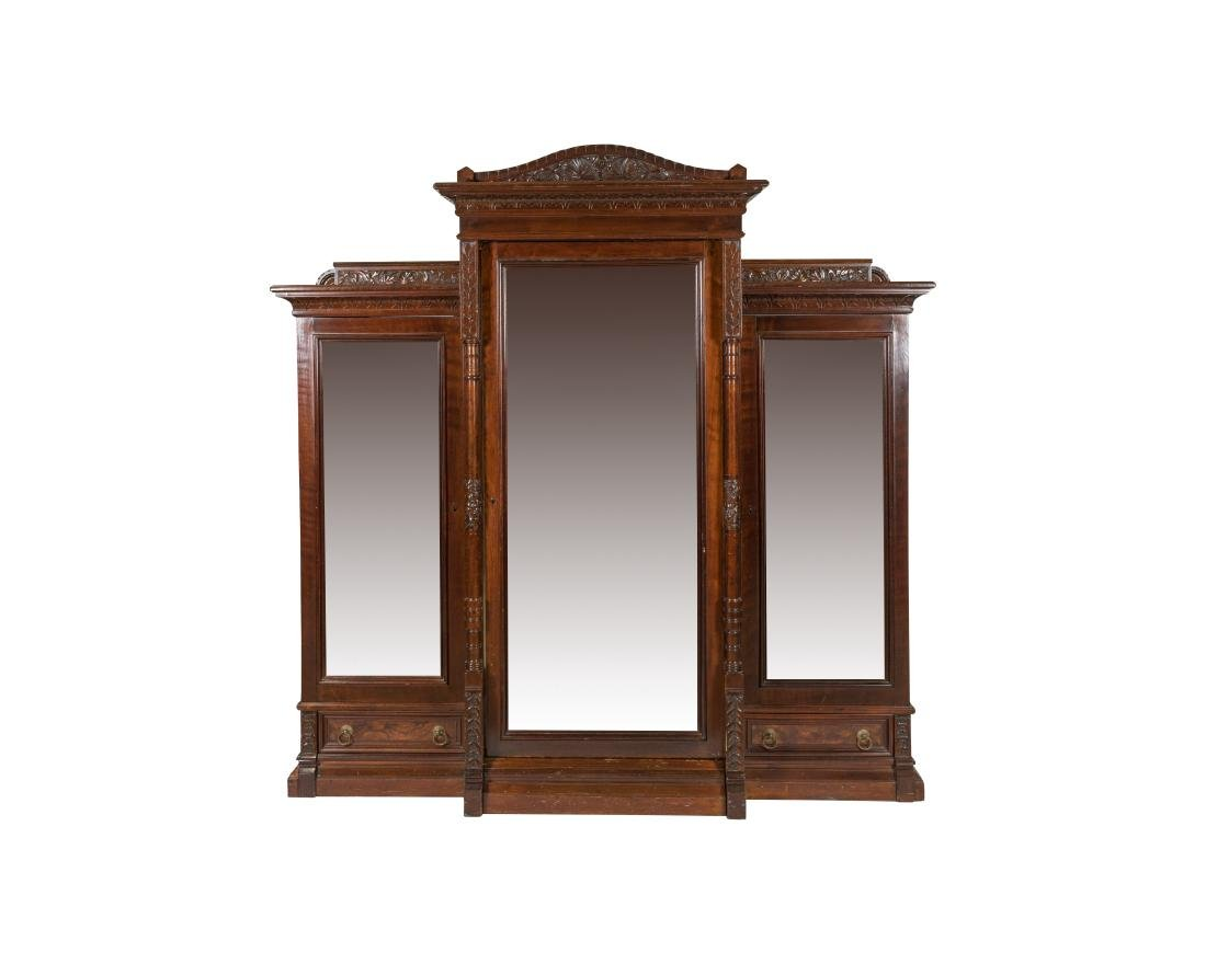 Heavily Carved Victorian Walnut Bookcase