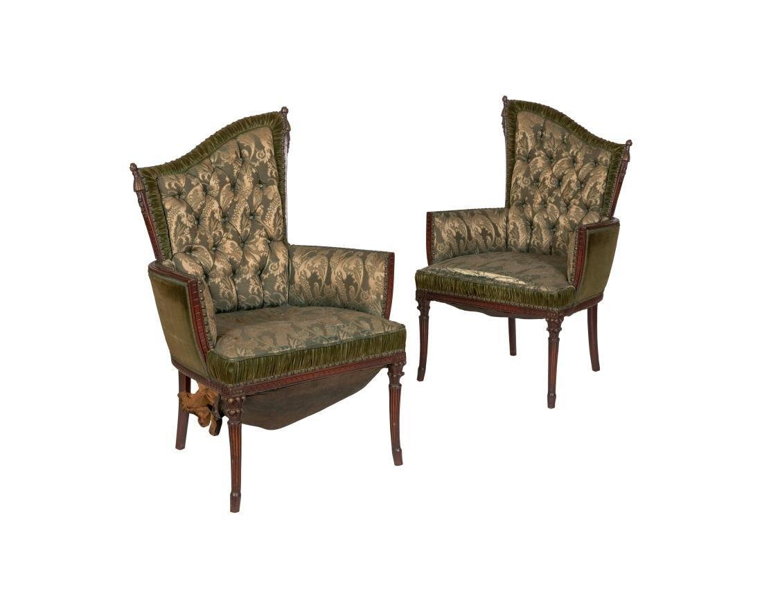 Mahogany Fireside Chairs - Pair