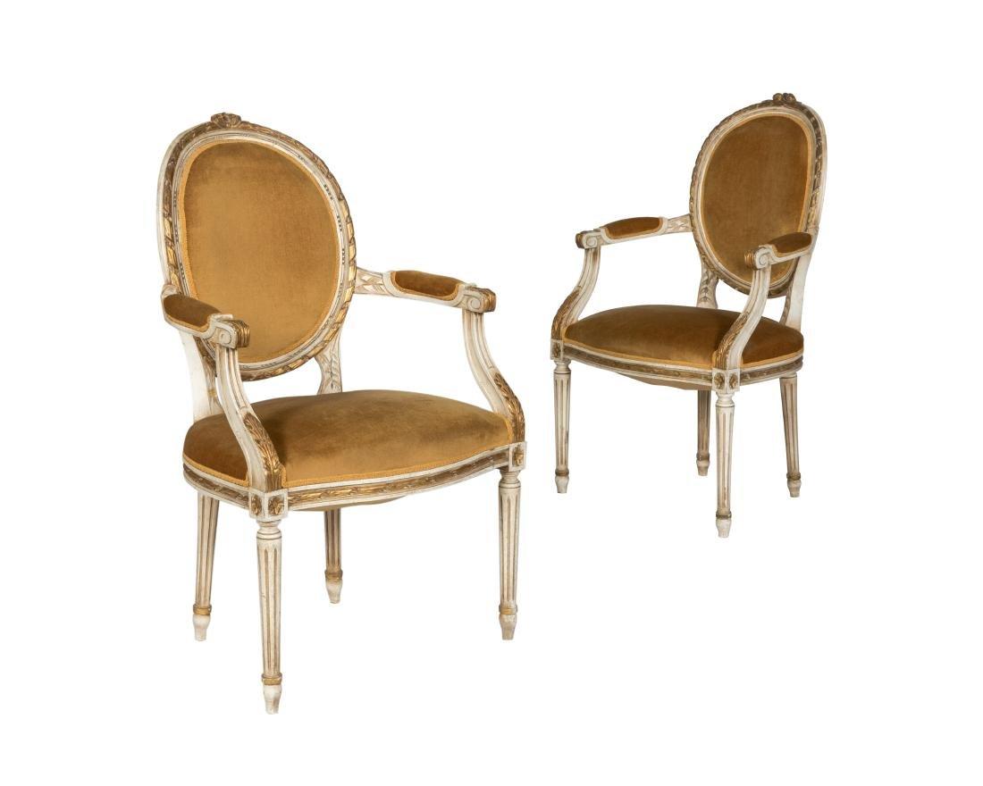 Louis XVI Style Arm Chairs - Pair