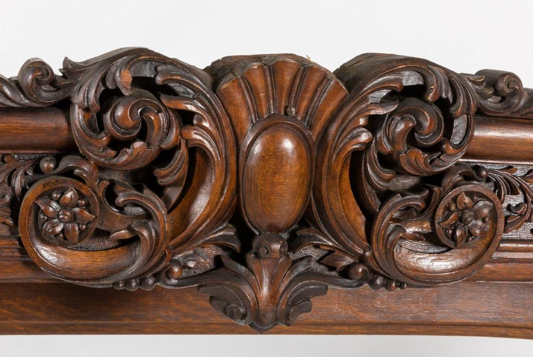 Heavily Carved Oak Backboard - 4