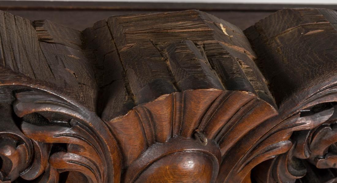 Heavily Carved Oak Backboard - 6
