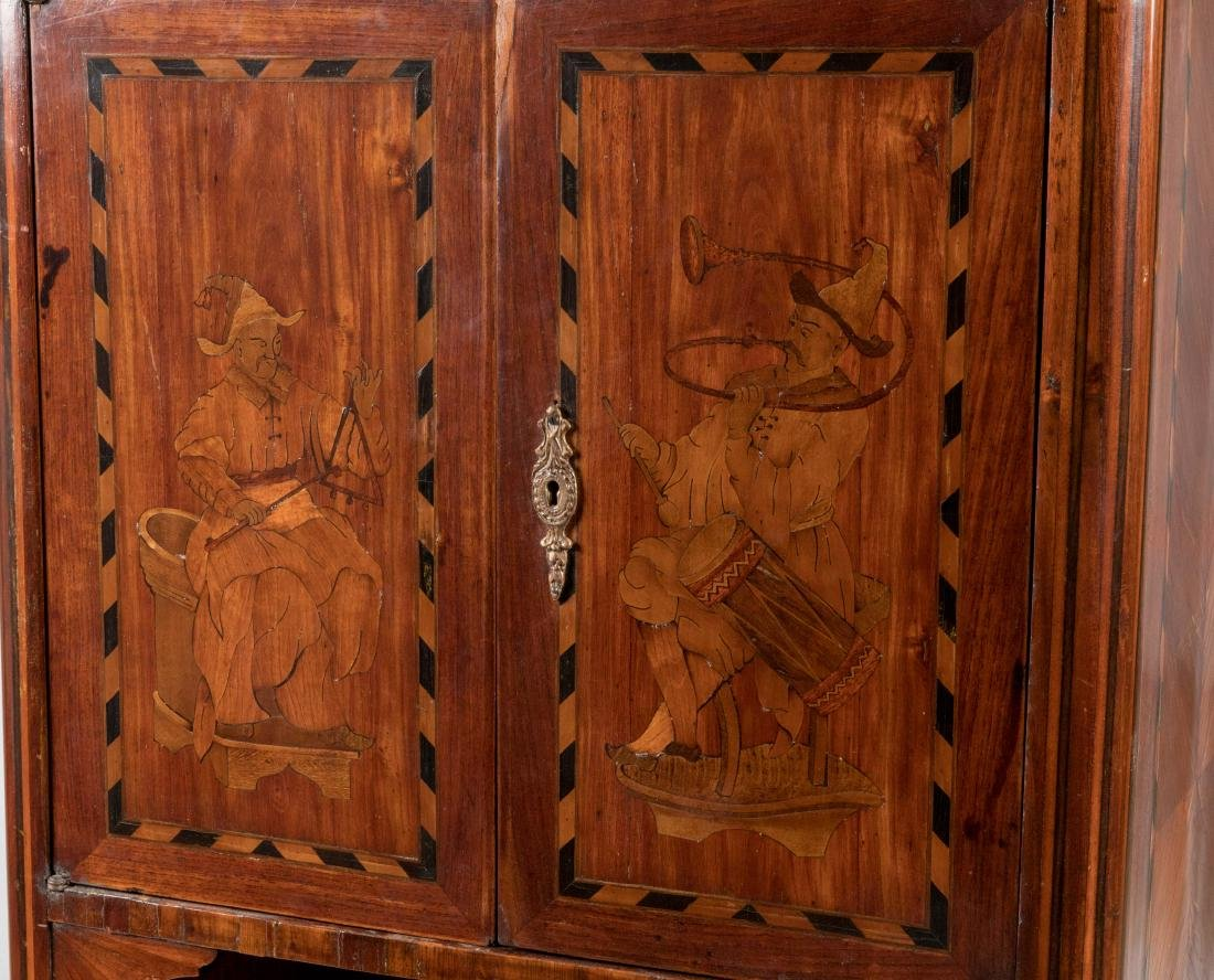 French Marble Top Inlaid Cabinet - 2