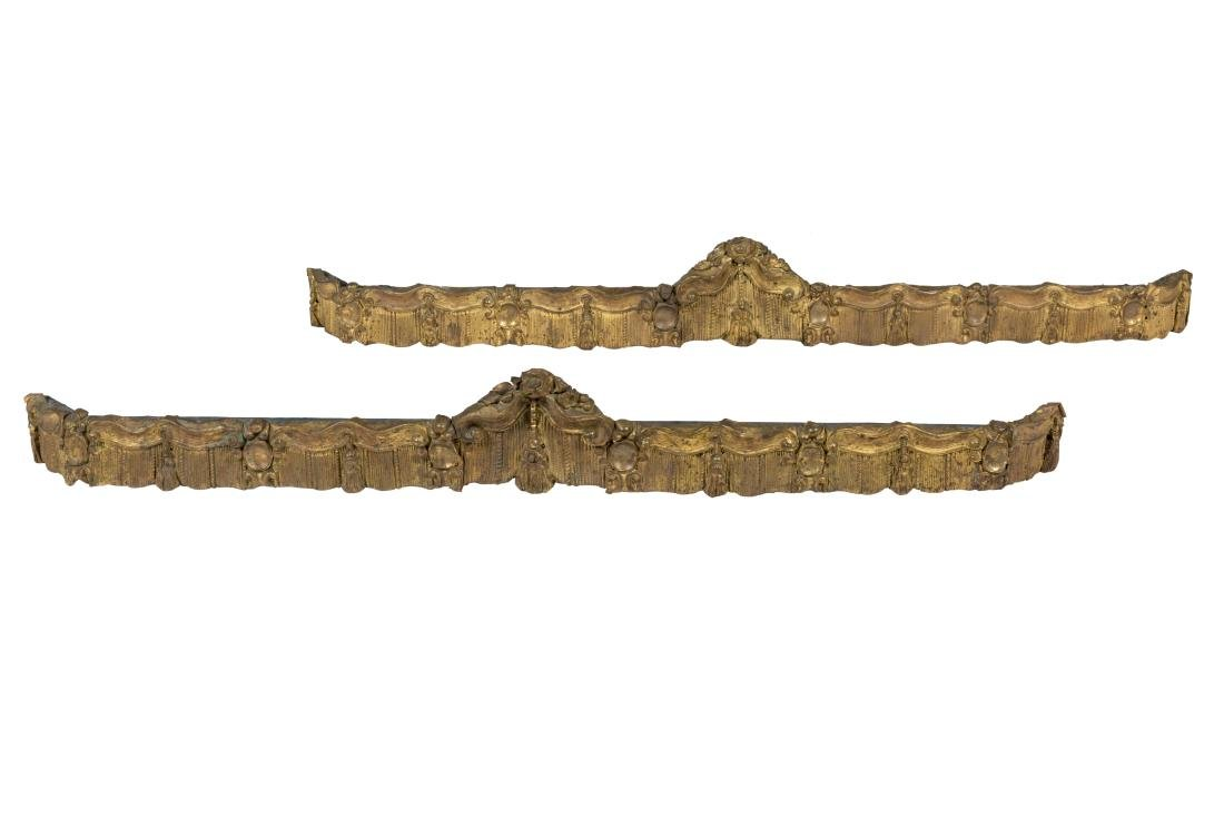 Victorian Sheeted Brass Valances - Pair