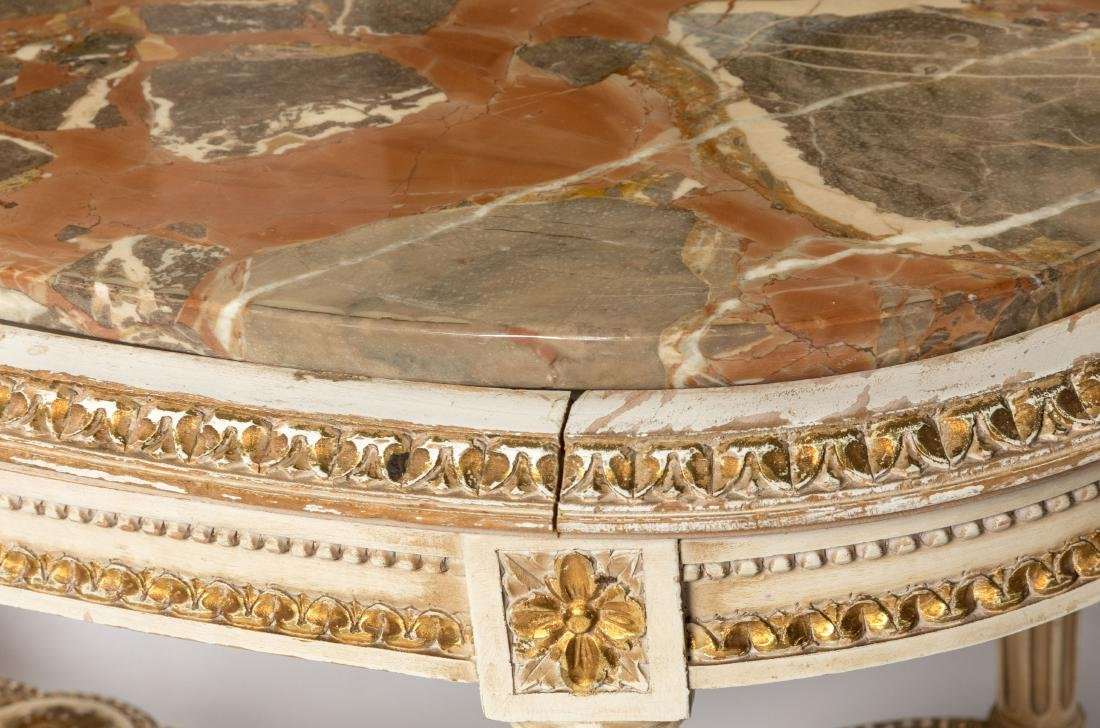 French Painted Marble Top Coffee Table - 4