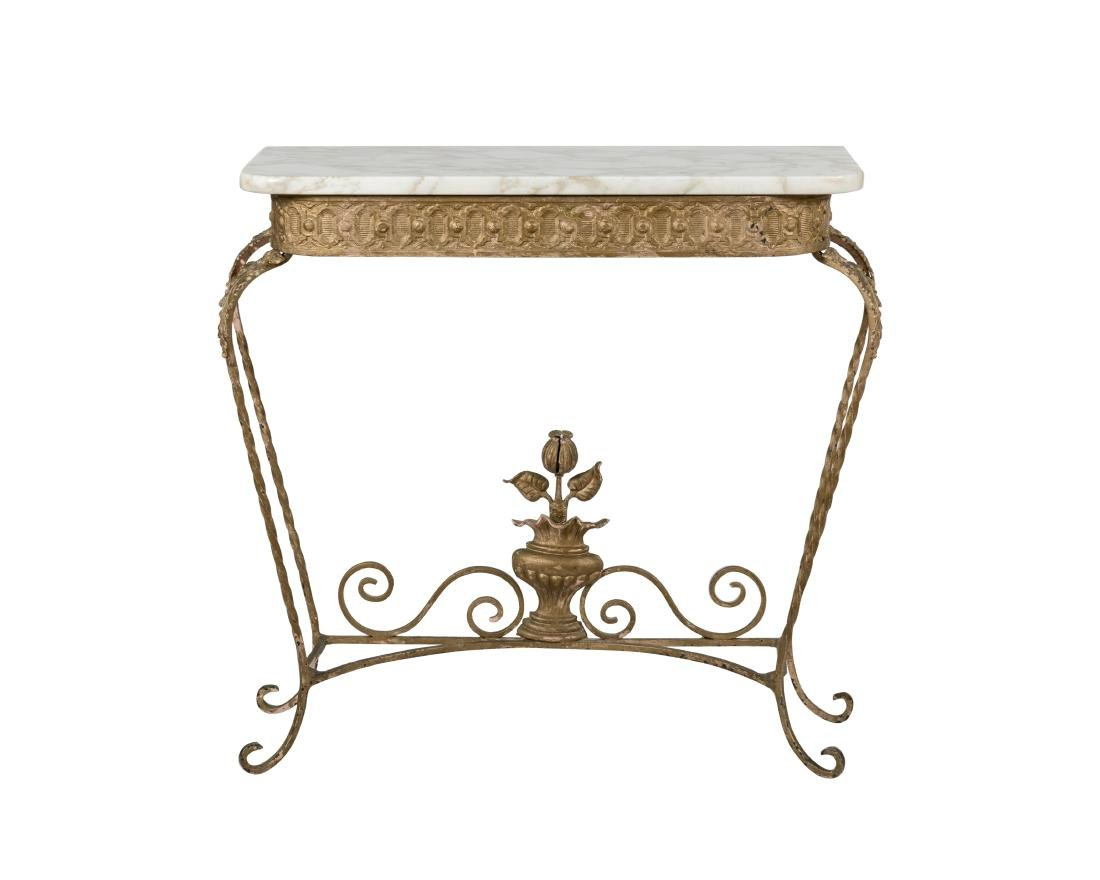 Iron and Marble Top Console Table