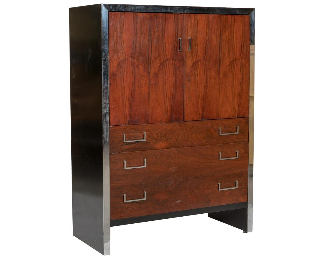 Milo Baughman Style Chrome and Rosewood Chifferobe