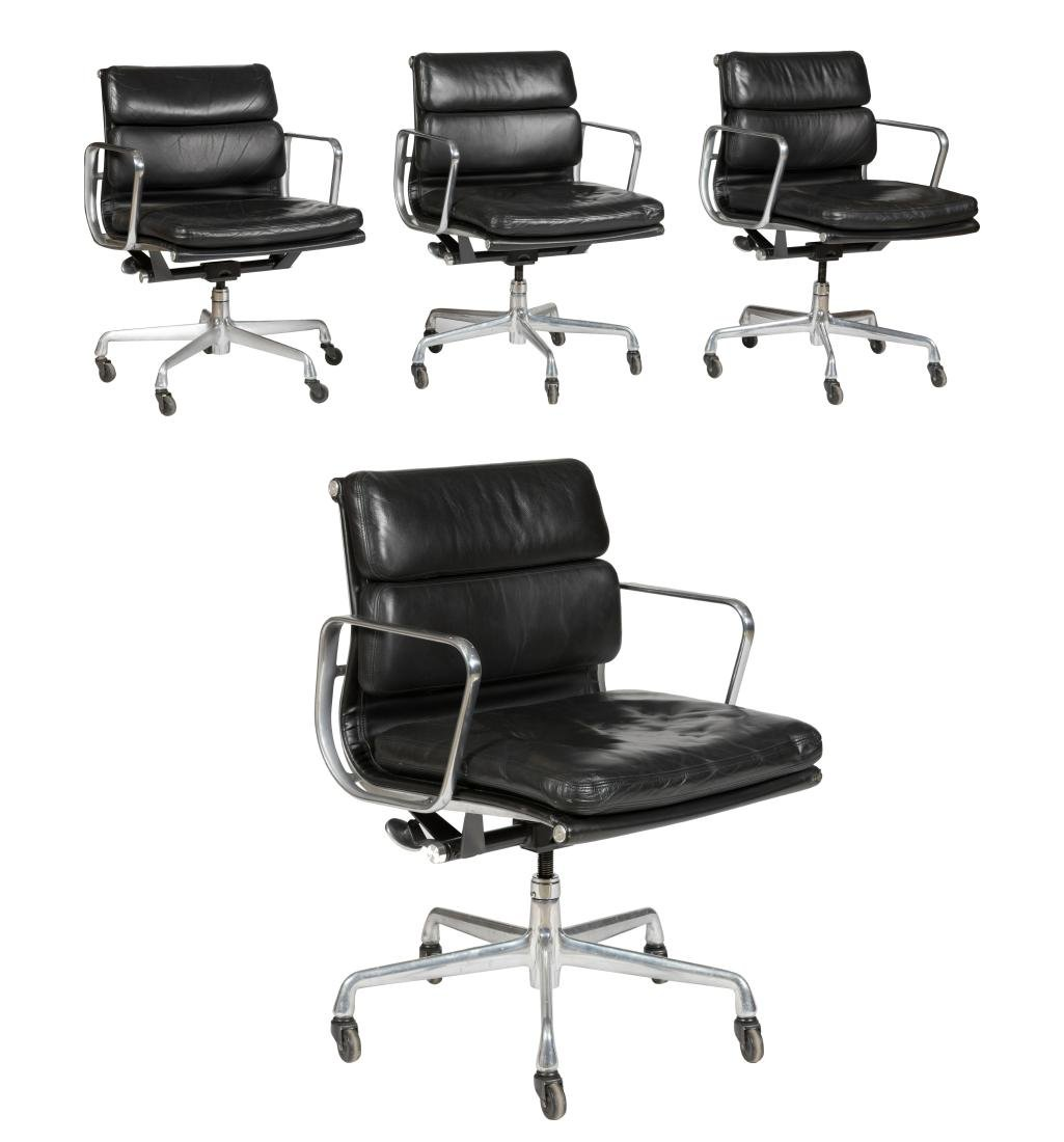 Charles Eames Black Soft Pad Chairs (435) - Four