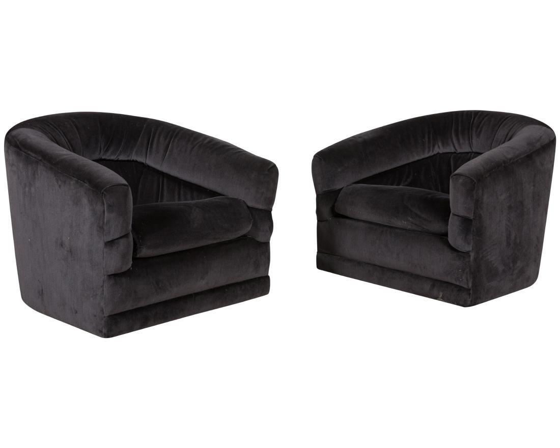 Milo Baughman Swivel Chairs - Pair