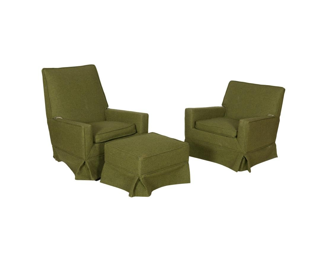 Ladies and Gentlemen's Club Chairs and Ottoman