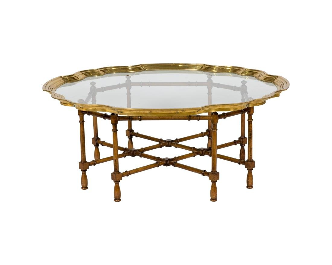 Chippendale Style Brass and Glass Coffee Table