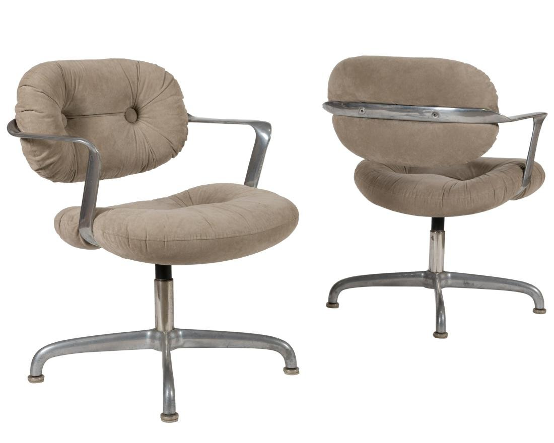 Knoll Suede Swivel Chairs - Pair - Signed