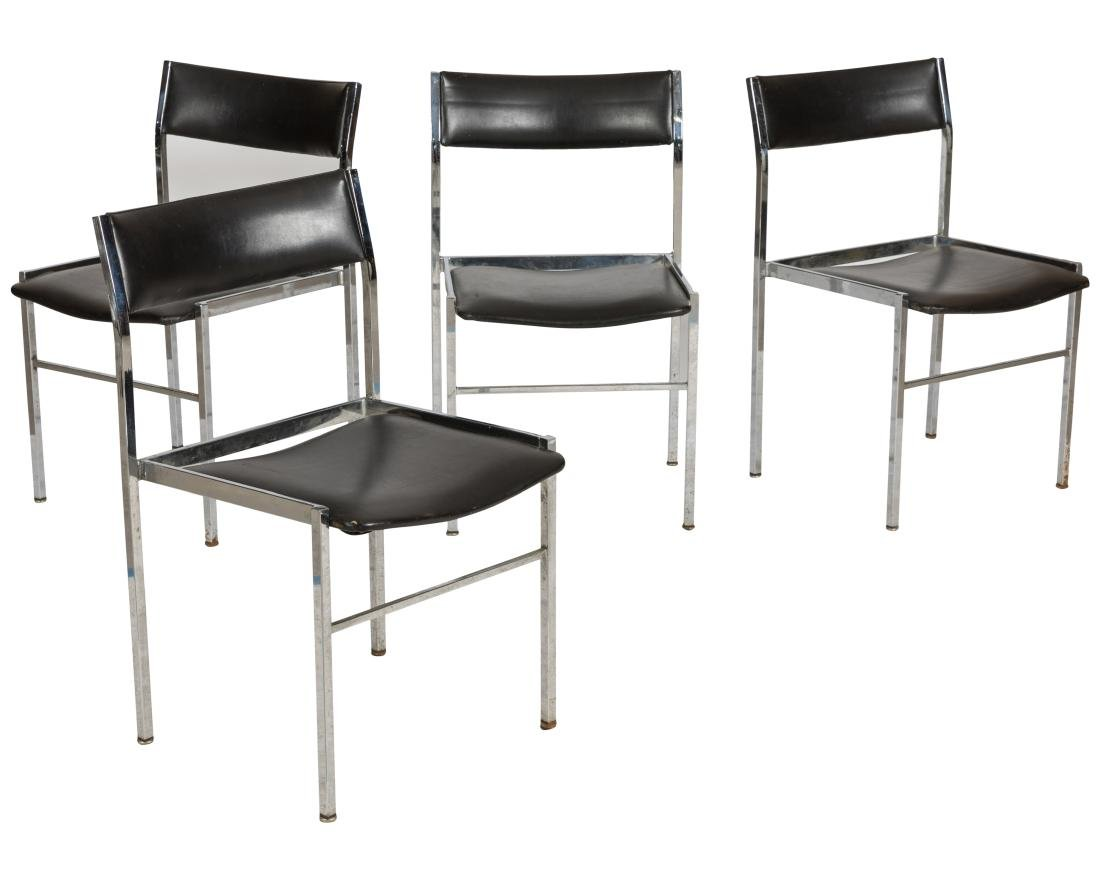 Scandix Chrome and Leather Stacking Chairs - Four