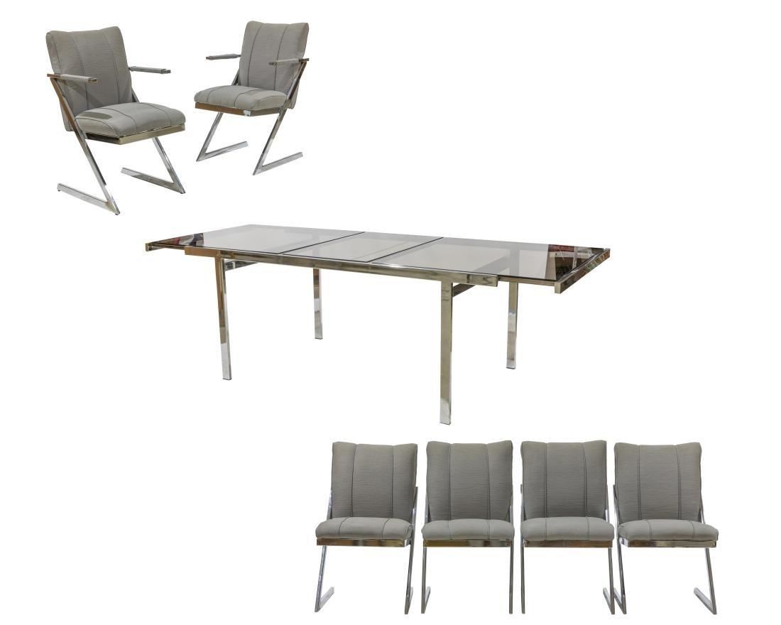 Milo Baughman DIA Chrome Table and Six Chairs