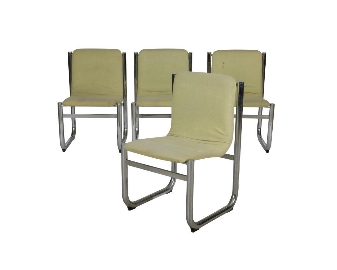Tubular Chrome Kitchen Chairs - Four