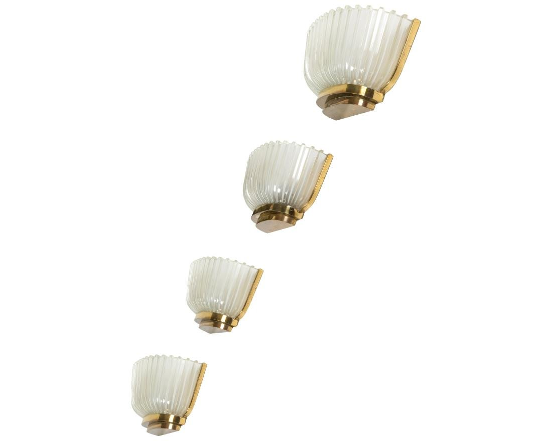 Archimede Seguso Gilt Brass and Glass Sconces