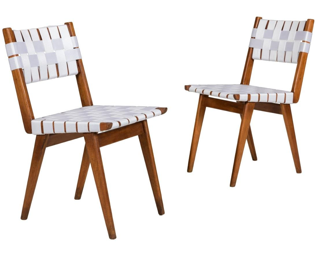 Early Jens Risom Woven Side Chairs - Pair