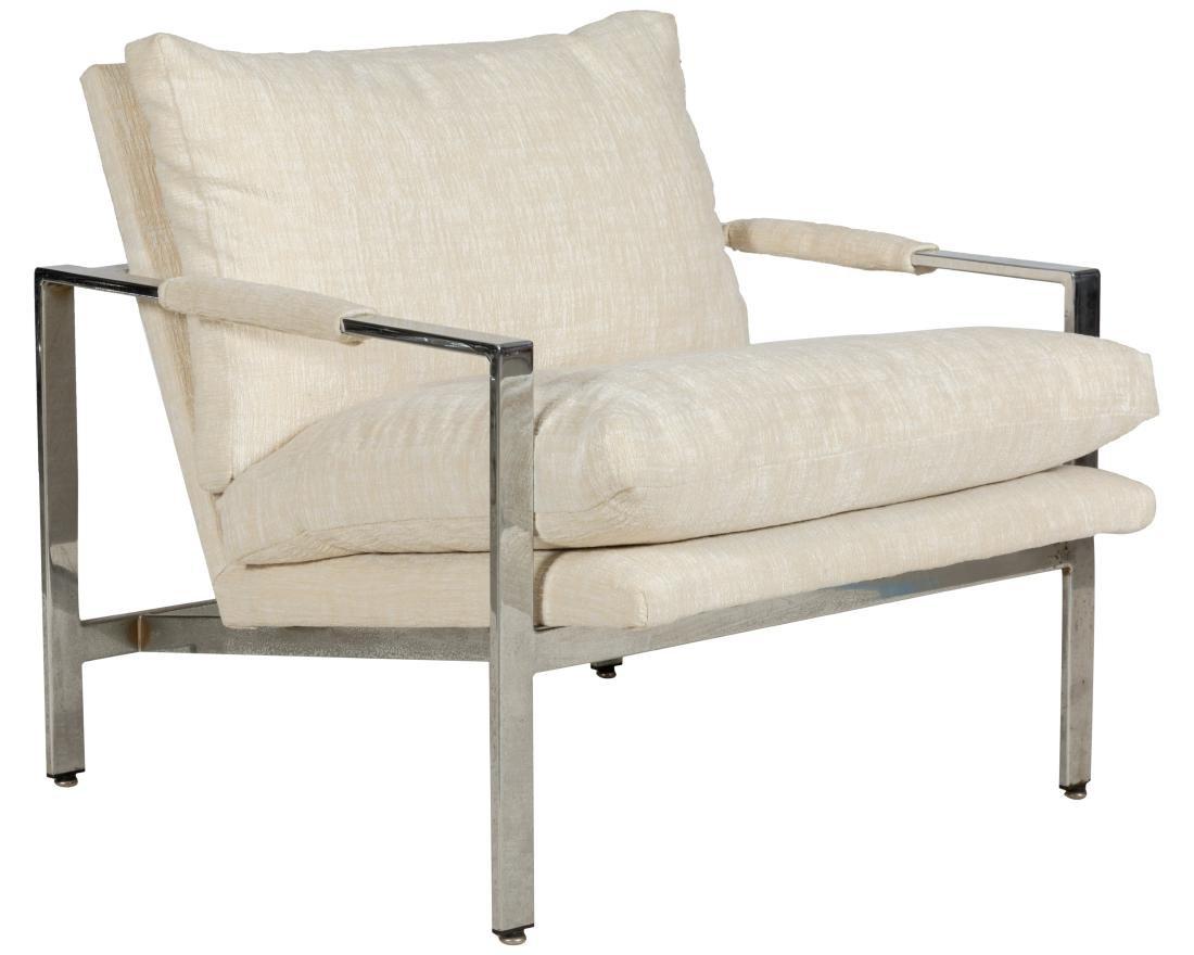 Milo Baughman Chrome Flat Bar Club Chair