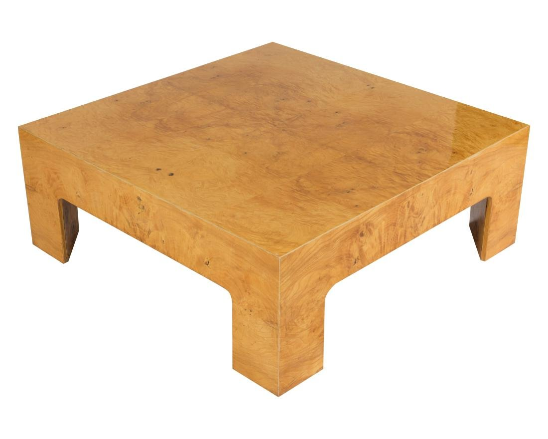 Milo Baughman Burl Coffee Table