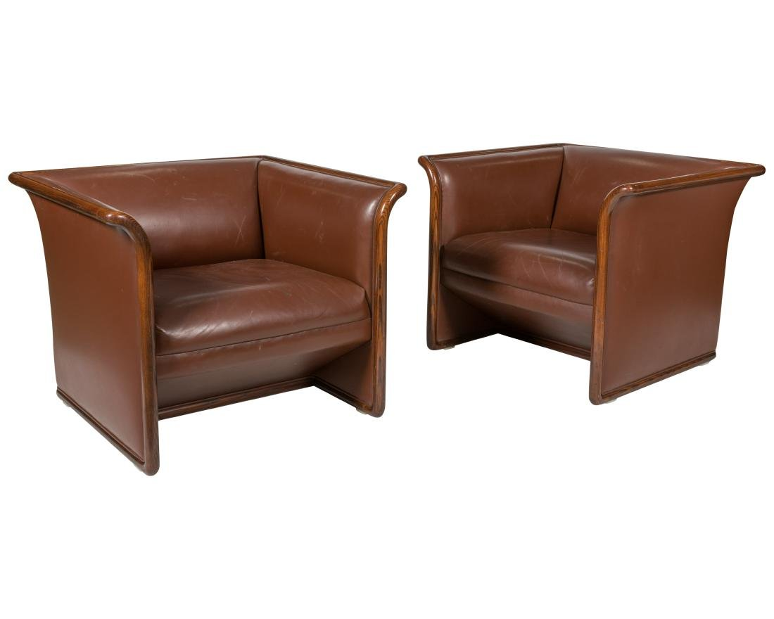 Ward Bennett for Brickel - Pair Leather Lounges